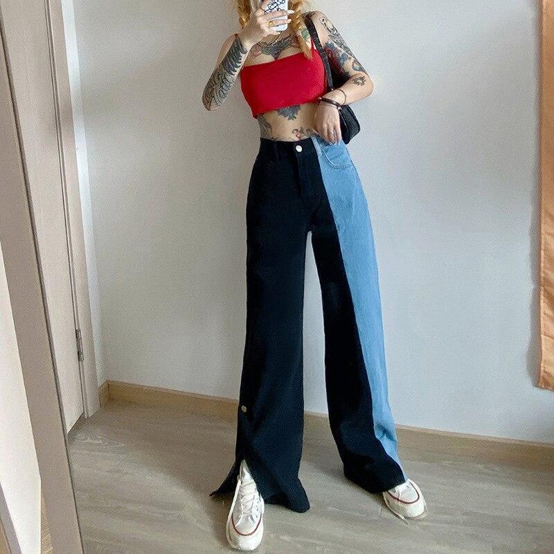 عالية الخصر مستقيم الجينز النساء الملابس العصرية واسعة الساق السراويل المفاجئة زر انقسام الدنيم السراويل الإناث المتناثرة كتلة اثنين اللون...