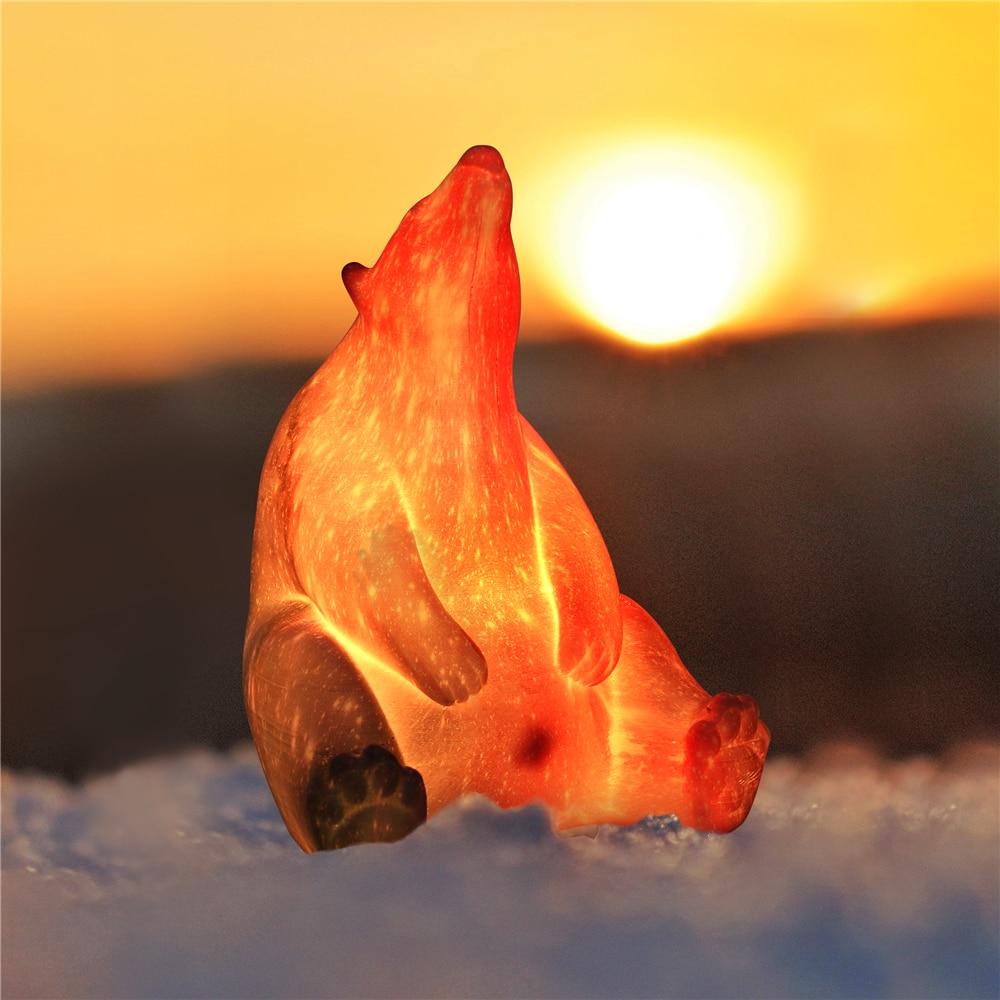 Oso Polar luz de noche Animal 16 colores cambio LED 3d Luz de impresión 3D luz de noche para niños dormitorio hogar decoración de regalo de Navidad