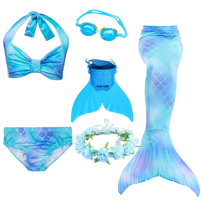 2020 3pcs/Set HOT Kids Swimmable Mermaid Tail for Girls Swimming Bating Suit Dress Spring Costume Little Mermaid Ariel Dresses
