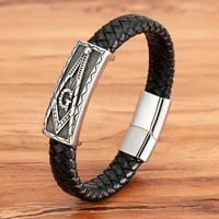 large accessories animal design luxury style stainless steel mens leather bracelet black leather magnet buckle christmas gift