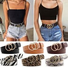 Double Ring Women Belt Fashion Waist Belt PU Leather Metal Buckle Heart Pin Belts For Ladies Leisure
