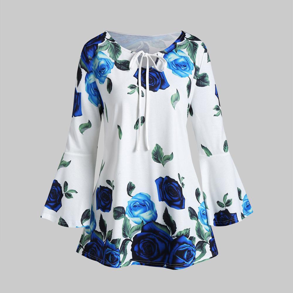 S-5XL talla grande estampado Floral cuello redondo suelta mujer camisa de lino Casual Flare manga verano Tops Chemise Keyhole T- camisas # D