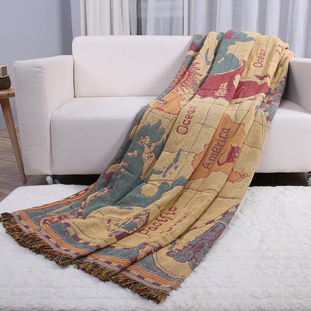 سجادة قطنية مع خريطة العالم ، 130 × 180 سنتيمتر ، أريكة ، كرسي ، بطانية ، ملاءة سرير