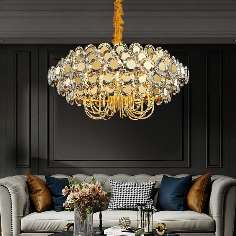 LED de luxe lustre en cristal salon salle à manger en acier inoxydable lampe décorative style nordique éclairage à la maison