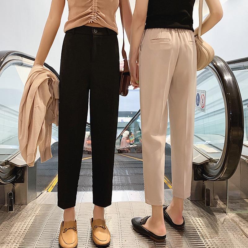 2020 pantalones elásticos de primavera para mujer, pantalones casuales de talla grande...