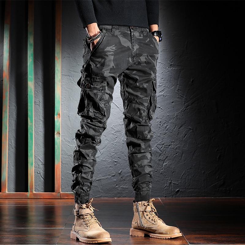 Джинсы-карго мужские свободного покроя, модная уличная одежда, брюки-карго, камуфляжные брюки с большими карманами, шаровары в стиле милита...
