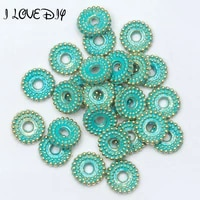 6mm8mm 100 pcslot vintage green and gold wheel pattern bead tibetan silver spacer beads for bracelet jewelry making