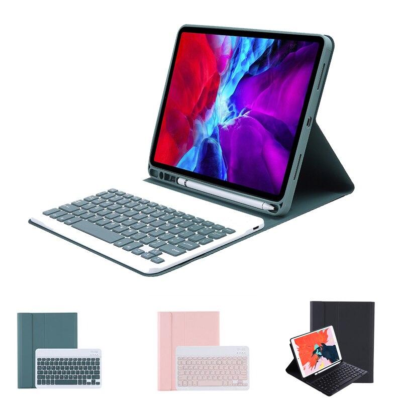 حافظة لوحة مفاتيح لاسلكية مزودة بتقنية البلوتوث لهاتف iPad Air4 10.9th 2020 من ألوان الحلوى مع لوحة مفاتيح لوحي بفتحة حامل وقلم