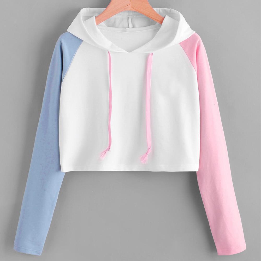 Women Fashion Splcing Sweatshirts Girls O-Neck Hoodie Sleeve Crop Top Short Pullover Hoodie Autumn Winter moletom feminino 820