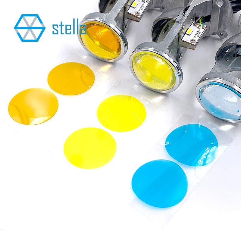 Pegatina de lente transparente en PVC de 3000K, 4300k, 8000k, dorado/blanco cálido/azul para minilente H4/H7 de 22mm/32mm 3 pares