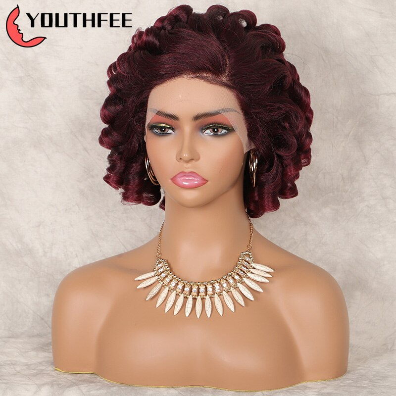"""Youthfee Deep Curly Lace Front Synthetic Wigs 12"""" Burgundy Spring Curls Wig With Baby Hair For Black Women Curly Wigs"""