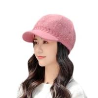 winter warm women knitted hats beanies rabbit fur cap warm and thick wool hat beret hat solid flat cap windbreak ear protection