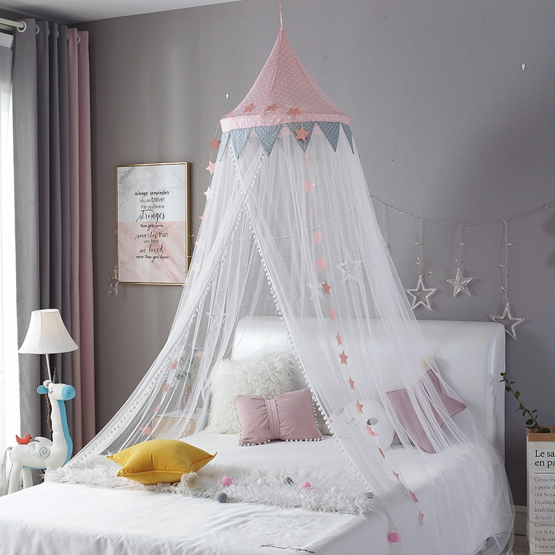 Baby Mosquito Net With Lace Kid bed curtain canopy Round Crib Netting bed tent Kids Room Decoration girls bedroom accessories