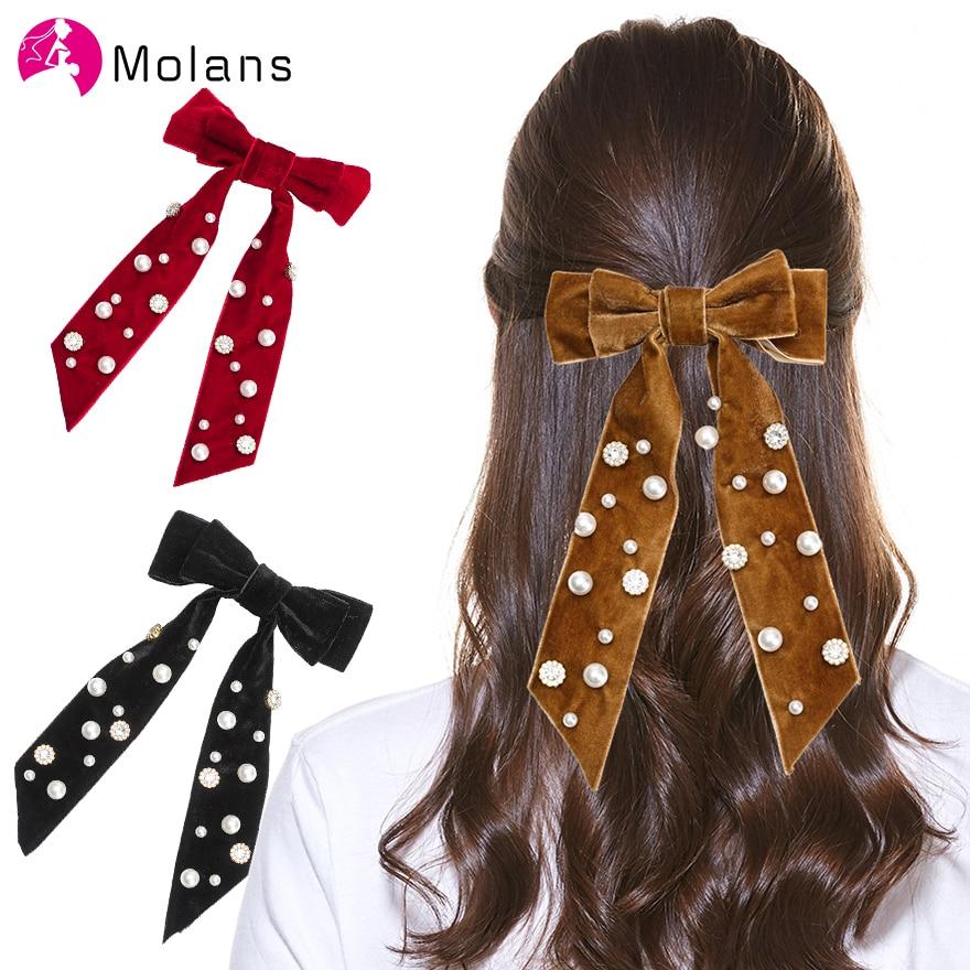 Horquillas con Lazo de terciopelo sólido Molans para mujer con perla de terciopelo grande adornado lazo con pasador 21cm Clips accesorios para el cabello de niña