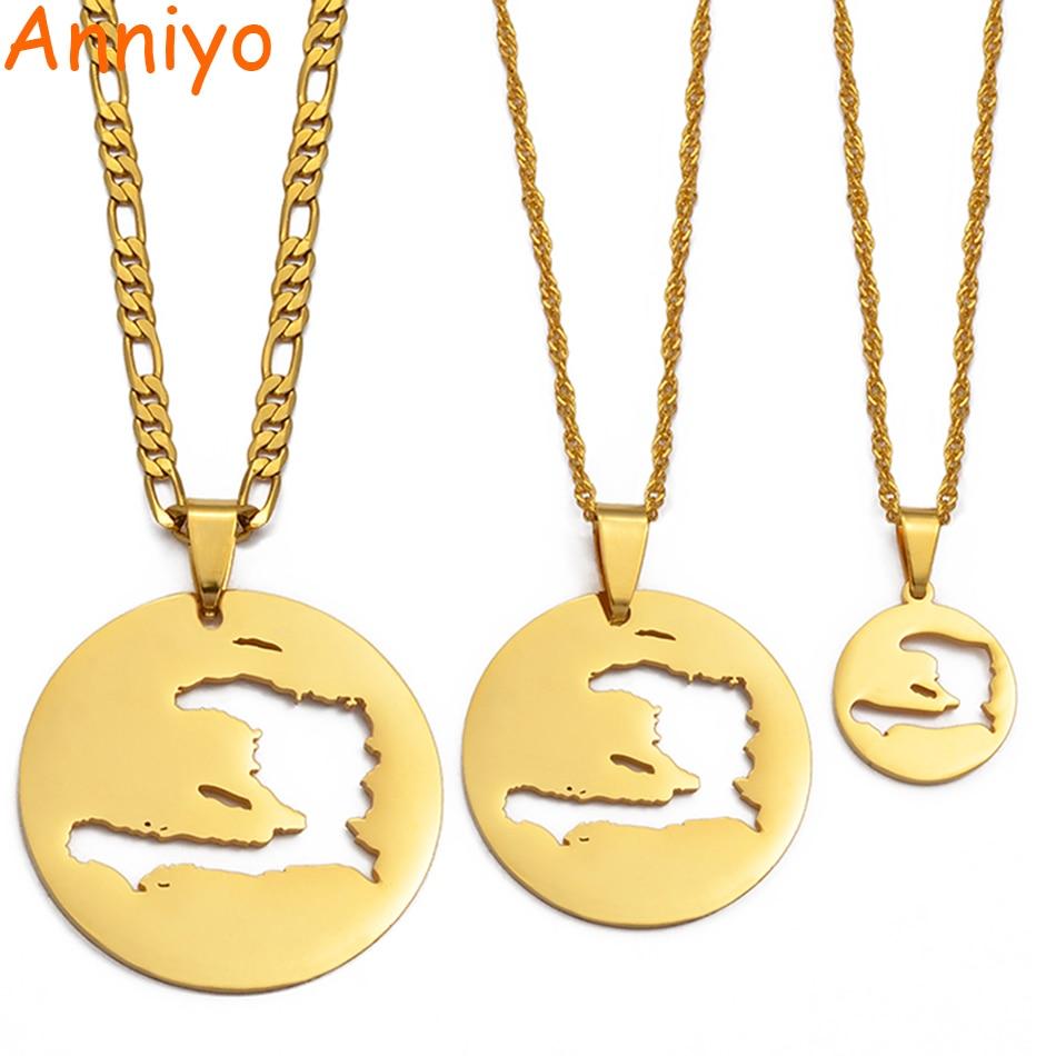Anniyo Haiti mapas colgantes collares para hombres mujeres niñas Haitian Map Jewelry #133821