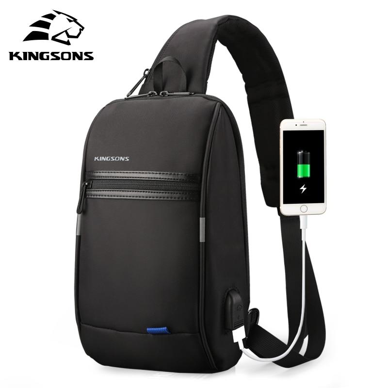 Kingsons-حقيبة كتف للرجال مقاس 10 بوصات ، حقيبة كتف للرجال مع شحن USB ، مقاومة للماء