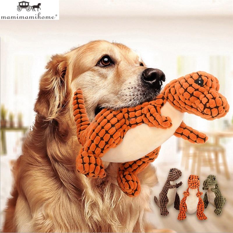 25cm encantador perro mascota de peluche de juguete de dinosaurio Vocal mascar la limpieza Molar juguetes para perros de Casa mascotas suministros duraderos juguetes para jugar