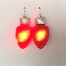 Nouveauté brillant LED Flash lumière lumineuse noël boucles doreilles 2019 rouge larme boucles doreilles vacances fête bijoux cadeau pour les femmes filles