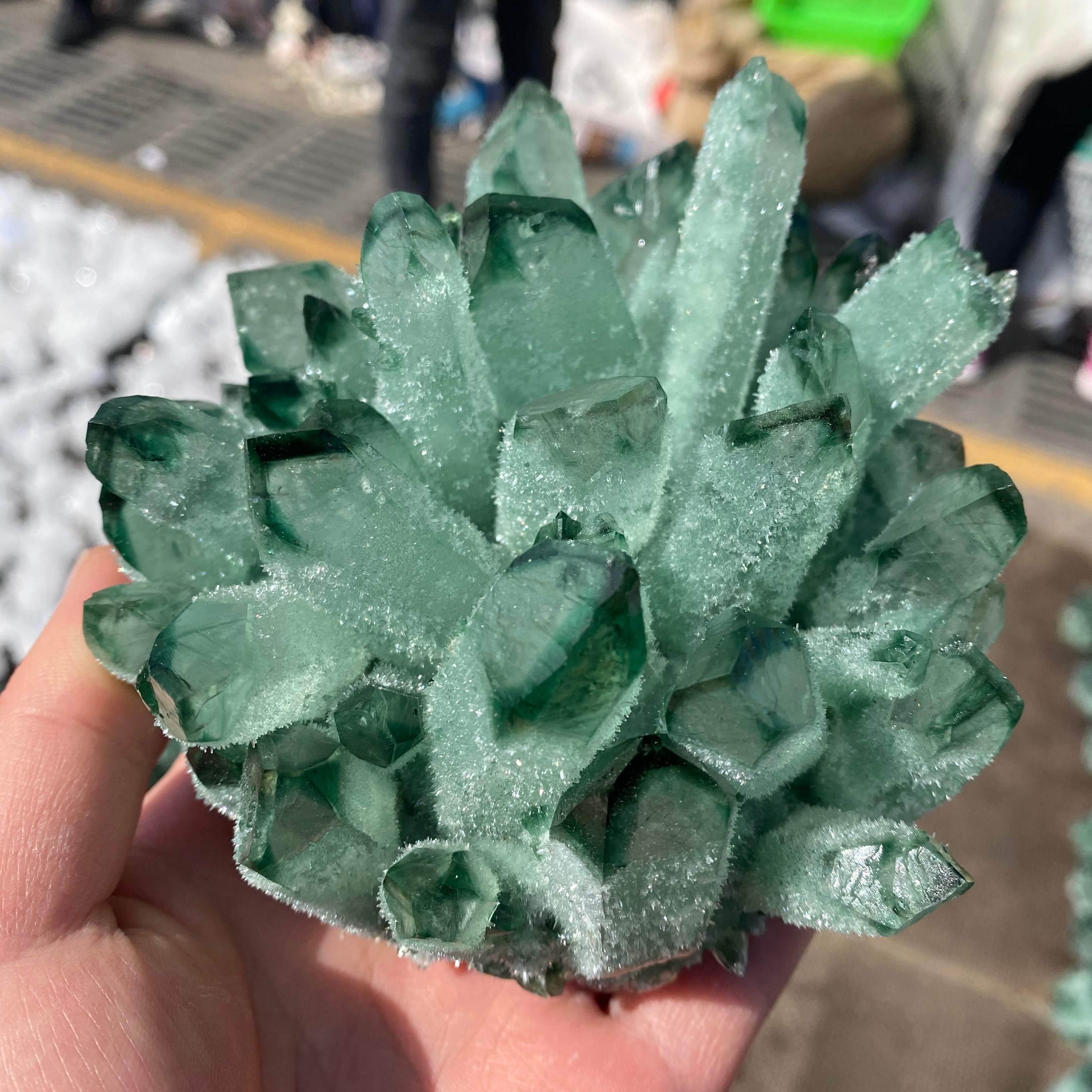 300-800g  natural green ghost quartz crystal cluster healing crystals raw gemstone specimen for home&office decoration fengshui