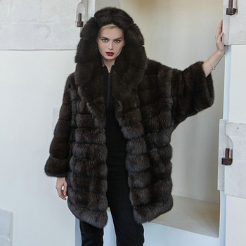 Real Fox Fur Coat with Hood Winter Woman Thick Warm Fur Overcoat Luxury High Quality Dark Sable Color Genuine Fox Fur Coats 2021