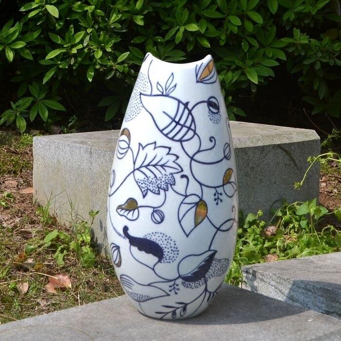 Florero de cerámica europeo azul y blanco dibujo flor dorada arreglo Flor de porcelana, nuevo restaurante chino suave Deco