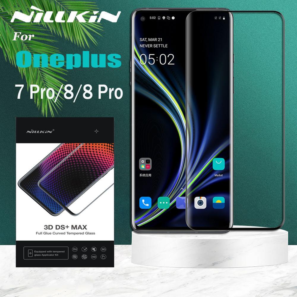 Oneplus 9 8 Pro زجاج مقسى Oneplus 7 Pro واقي للشاشة Nillkin ثلاثية الأبعاد تغطية كاملة 9D حافة زجاج أمان على One Plus 8 7 Pro