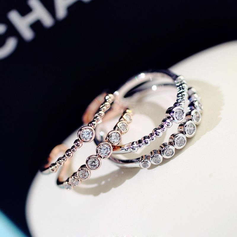 Anillo apilable doble Zirconia cúbica anillo ajustable femenino oro rosa/blanco Buddy regalo joyería Popular