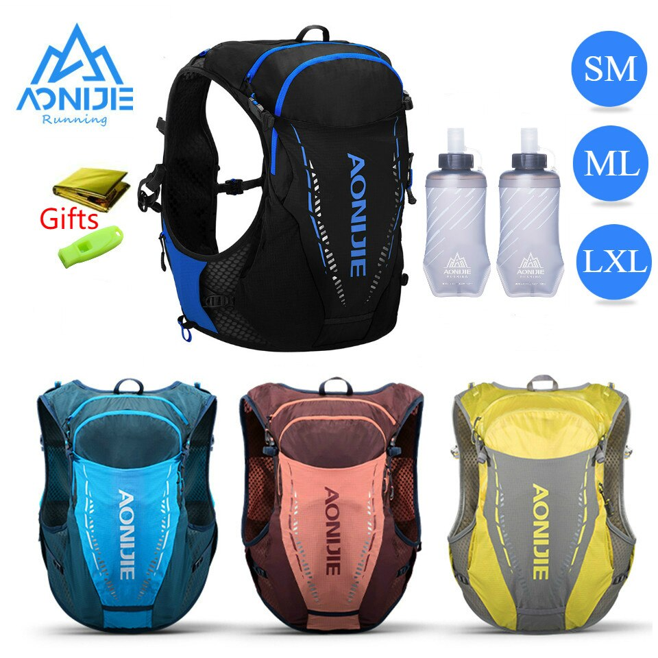 SM ML LXL AONIJIE C9103 Black Ultra Vest 10L Hydration Backpack Pack Bag Free Water Bladder Bottle Trail Running Marathon Race