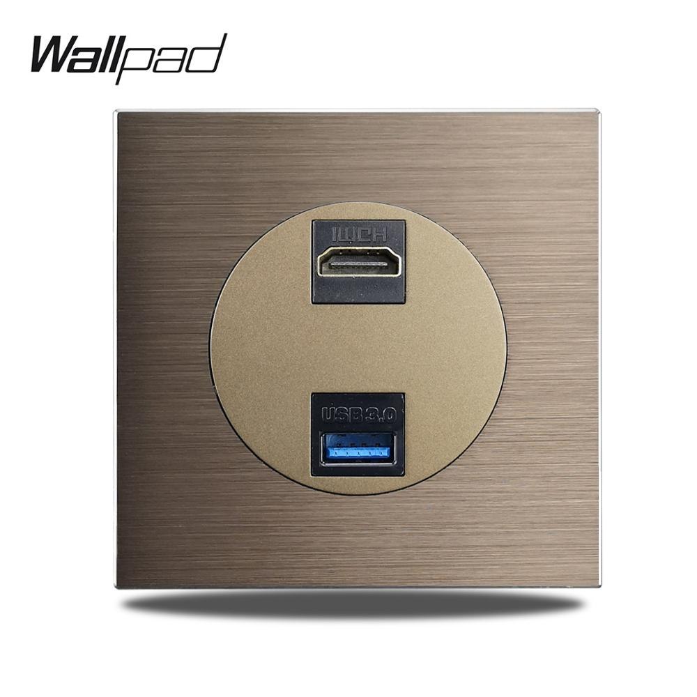 Wallpad-مقبس تمديد L6 HDMI USB3.0 ، منفذ بيانات ، لوح ألومنيوم ناعم 86 × 86 مللي متر
