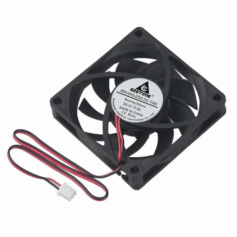 2 PCS Gdstime 7015S 5V 2 Pin 7cm 70x70x15mm 70mm Brushelss DC CPU Cooler Cooling Fan emacro fcn dfs501105pq0t fcbq dc 5v 0 5a 4 wire 4 pin 70mm server blower fan