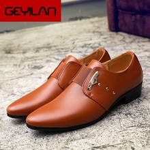 NEW Fashion Formal Men Peas Shoes Breathable  Business Dress Shoes Genuine Leather Casual Oxfords Po