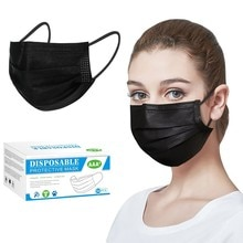 50pcs Black Good Quality Disposable 3-ply Breathable Face Ma Sk For Lips Care Ear Loops Disposable M
