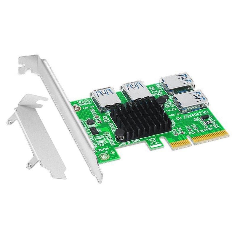 مهايئ PCI-E إلى PCI-E واحد لأربعة مهايئ رسومات PCI-E X4 إلى 4 بطاقة توسيع واجهة XUSB لتعدين BTC