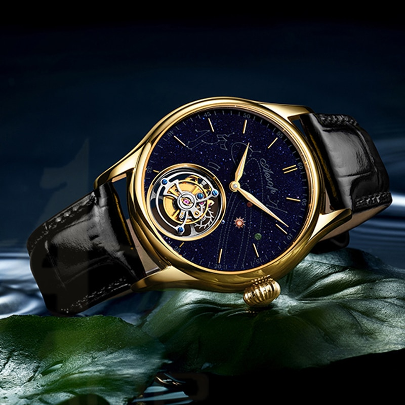 relogio masculino AESOP Tourbillon Watch Chronograph 100M Waterproof Gold Mechanical Wristwatch For Man Sapphire Solar System
