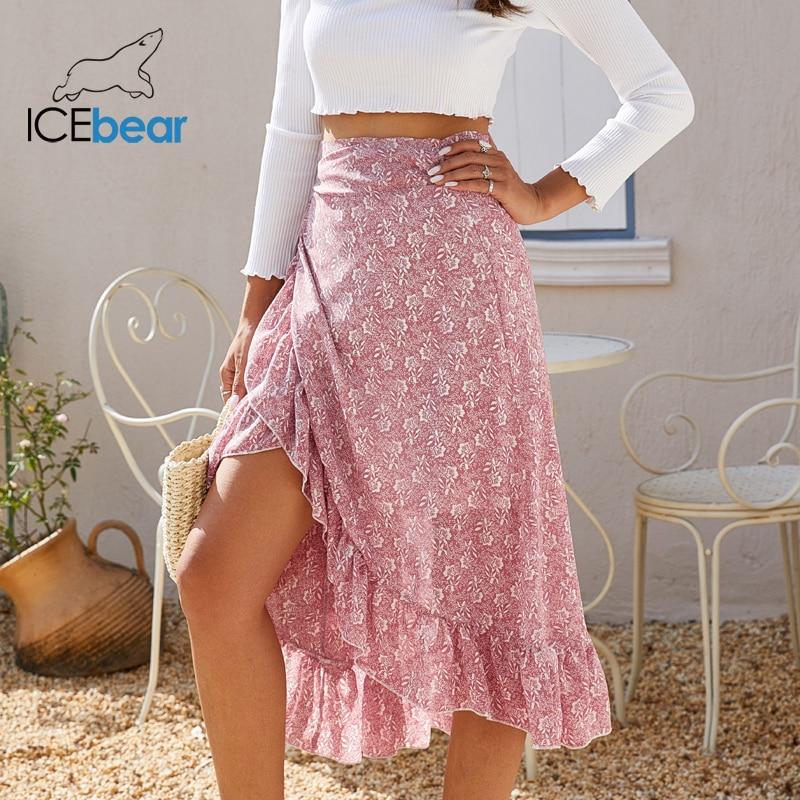 Icebear, verano 2020, falda de gasa con tiras, falda floral irregular, falda LYQ-2595