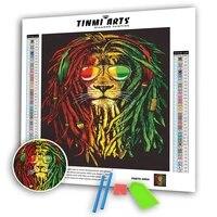 Kits de peinture diamant 5D a colle coulee  bricolage  bord festonne  Animal  perceuse complete ronde  Lion fumeur  Dreadlocks  decoration de mosaique pour la maison