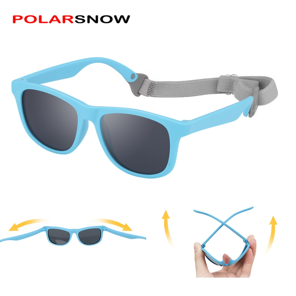Kids Sunglasses Polarized with Strap for Girls Boys TPEE Flexible Frame UV400 Sun Glasses for Baby T