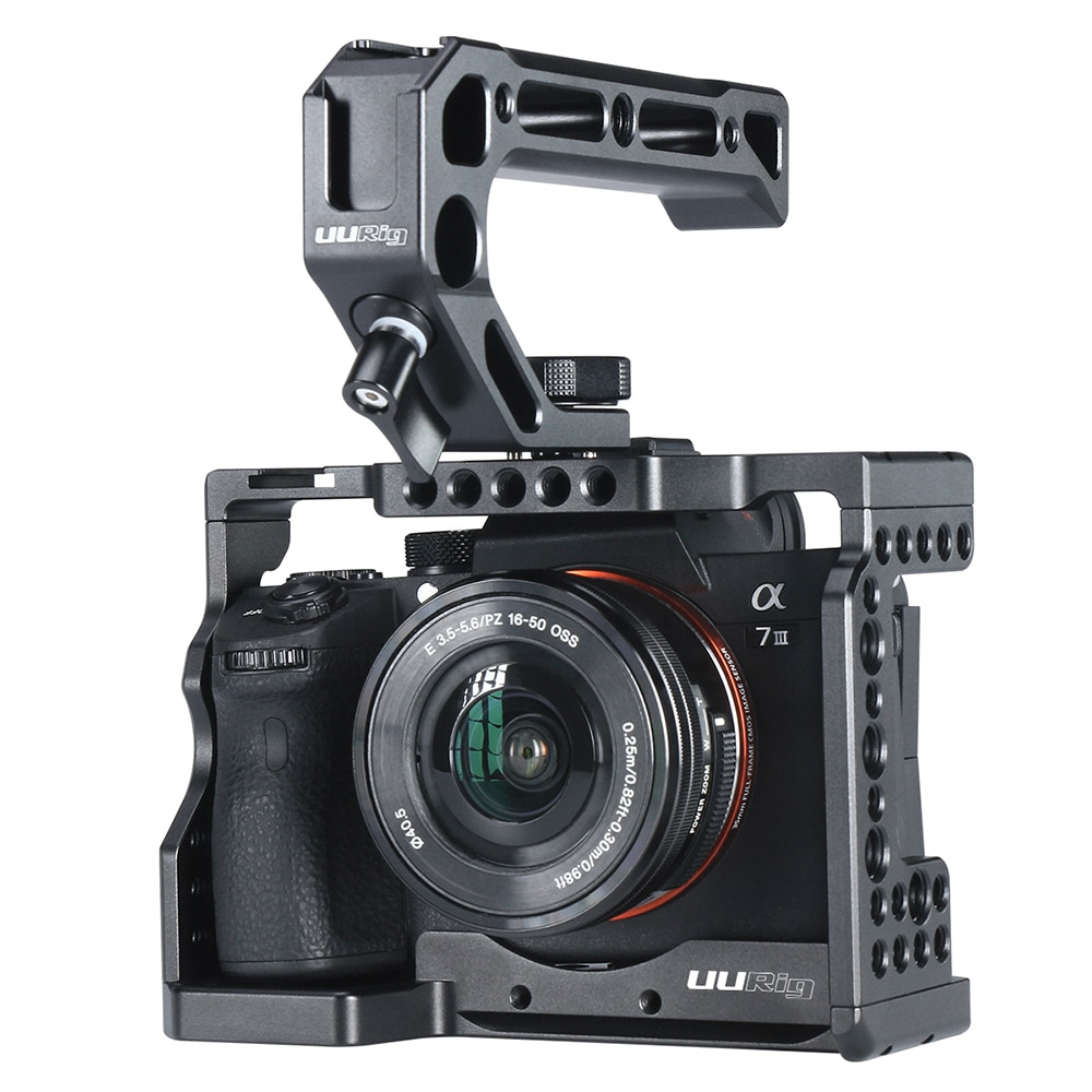 UURig C-A73 Camera Cage for Sony a7iii A7R3 A7M3 Standard Arca-Style Quick Release Plate with Top Handle Grip Sony A7III