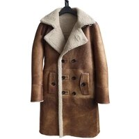 fashion real 2021 sheepskin fur coat genuine leather male formal winter long thick jacket sheepskin shearling men fur coat 4xl
