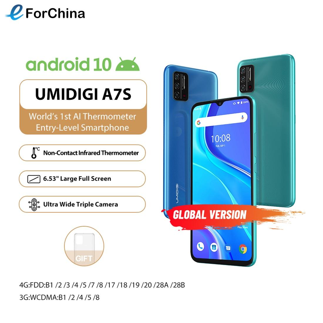 Перейти на Алиэкспресс и купить UMIDIGI A7S 6,53 дюймin-cell 20:9 доя больших полных Экран 2 ГБ + 32 ГБ, 4150 мА/ч, тройной Камера мобильный телефон Android 10 MTK6737 4 ядра смартфон
