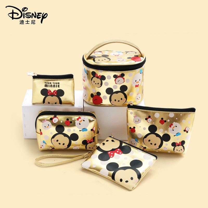 portable simple storage case large capacity multi function travel toiletry bag aluminum alloy cosmetic case double layer simple Disney Tsum Tsum waterproof PU cosmetic bag, cartoon large capacity multi-function storage bag, portable travel toiletry bag