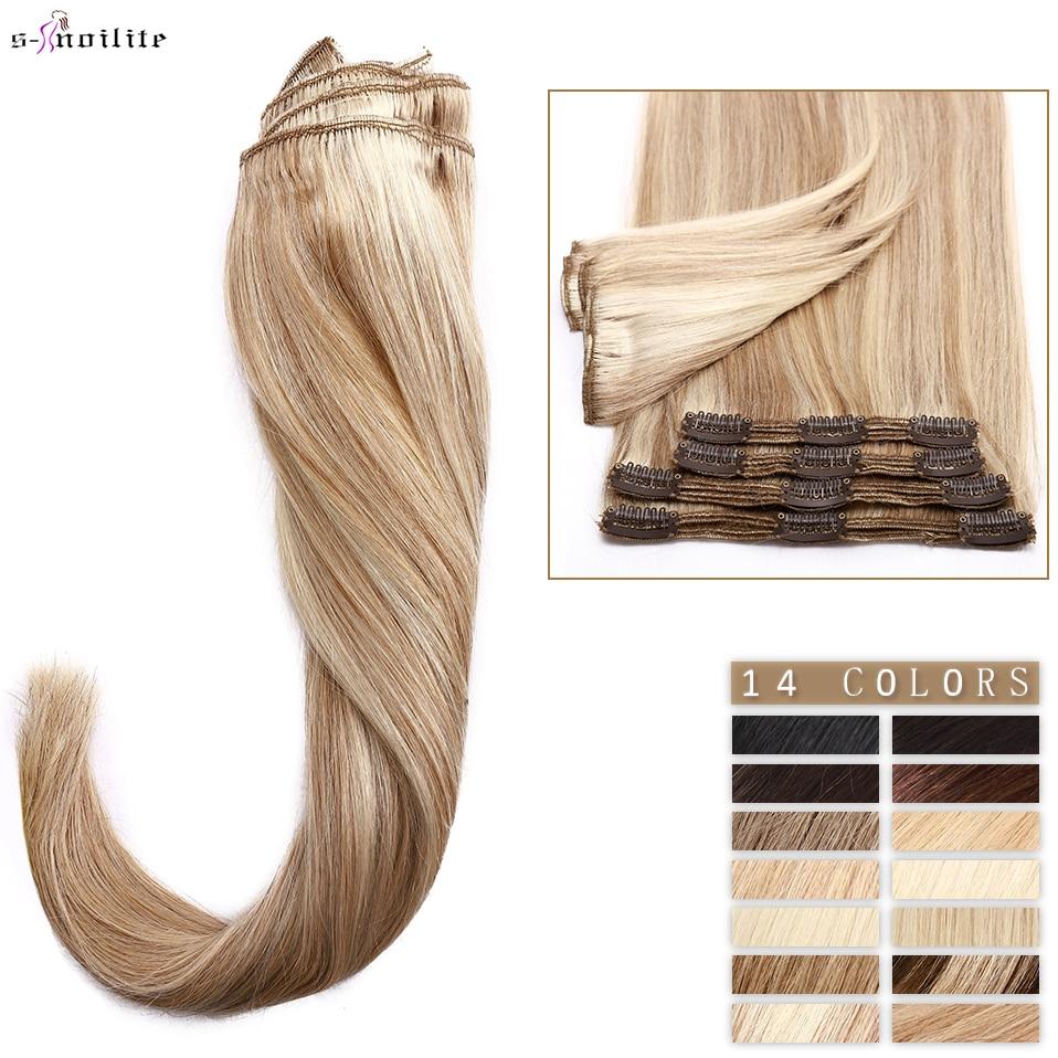 S-noilite 110g-170g Clip In Human Hair Extensions Straight Human Hair 8pcs/set Full Head Thick Natural Hair 10