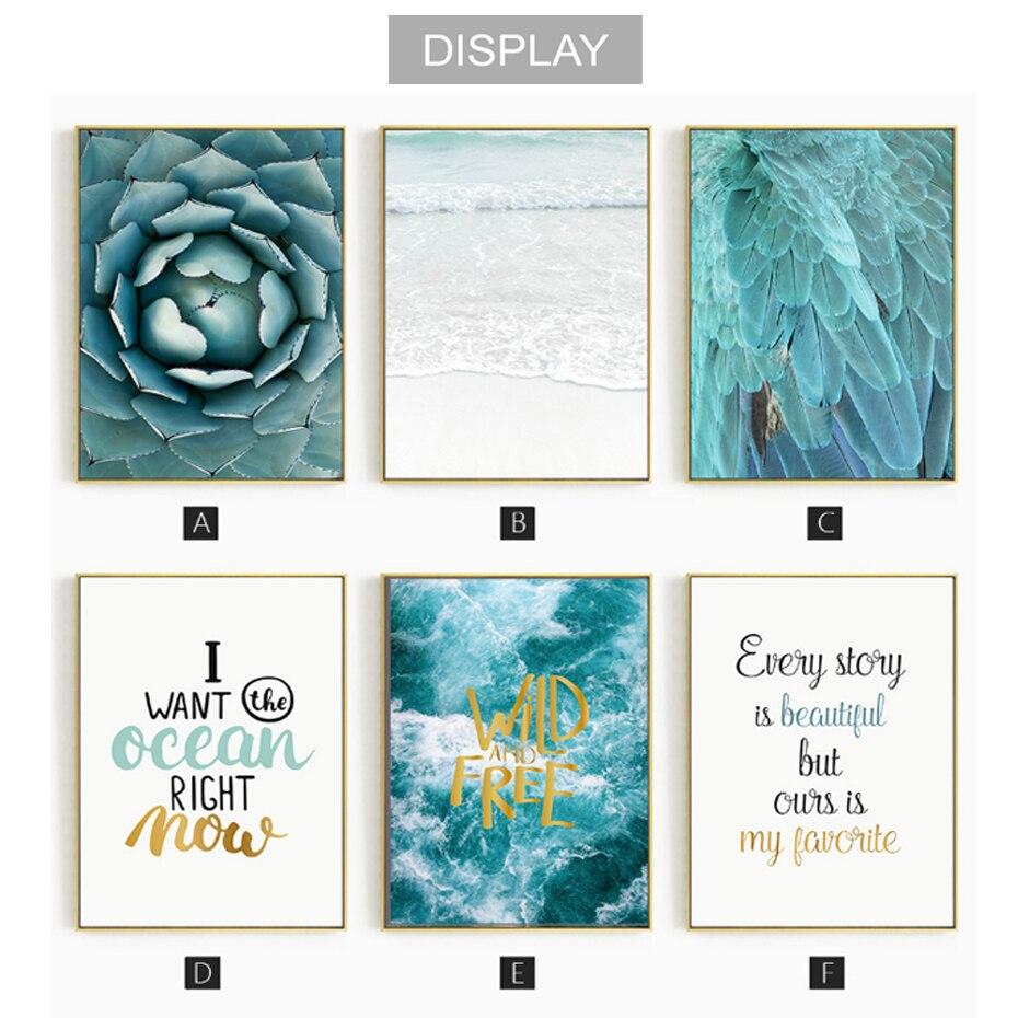 Toile de décoration de noël, affiches de peinture sur le mur, image dart murale de paysage marin bleu pour décoration de salon, décoration de maison