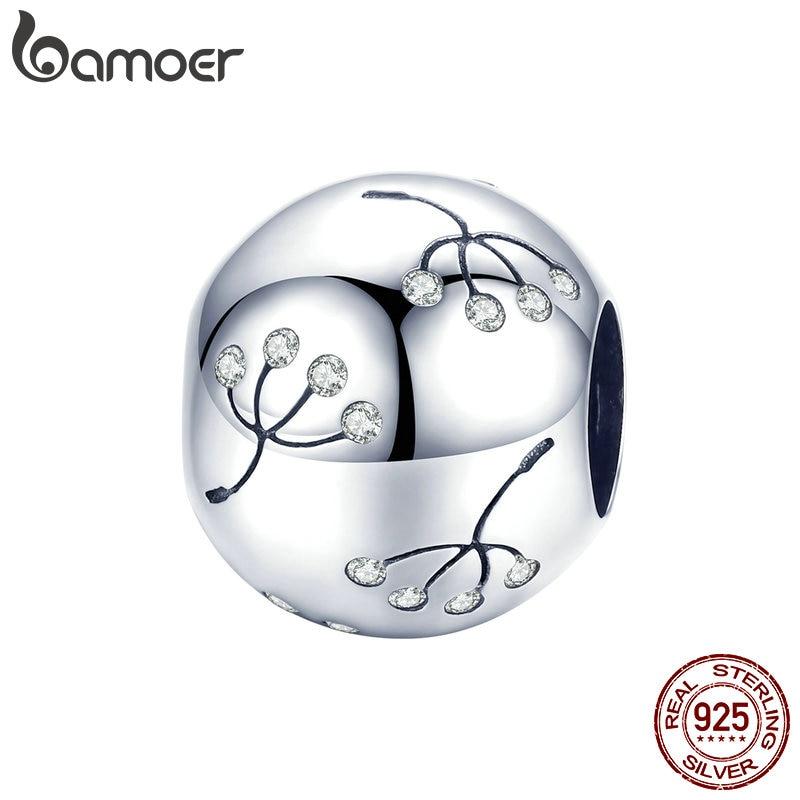 BAMOER 925 Sterling Silver Dandelion Flower Round Beads Charms fit Women Bracelets Bangles Silver Jewelry Making BSC053