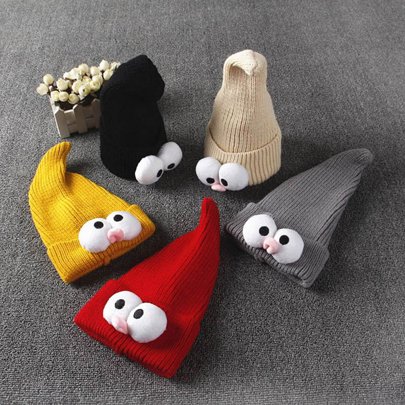 Симпатичная детская шапка, зимняя теплая вязаная детская шапка с большими глазами для мальчиков и девочек, детские шапки, шапки для новорожденных, шапки для мальчиков и девочек