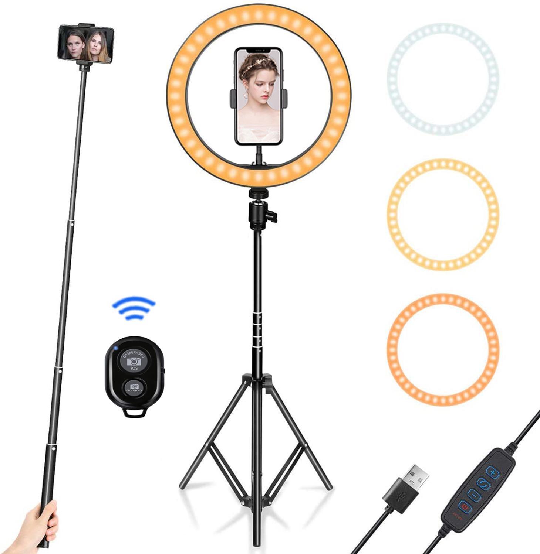 Lámpara Flash de fotografía USB Anillo de luz LED de 10 pulgadas y 26cm con trípode de 1,6 m, luz de anillo regulable para vídeo y fotografía