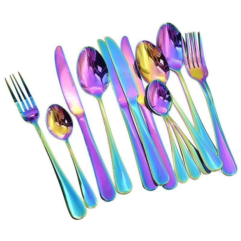 ABSF 16 قطعة مجموعة أدوات المائدة الملونة رومانسية عشاء مجموعة قوس قزح طقم ملاعق