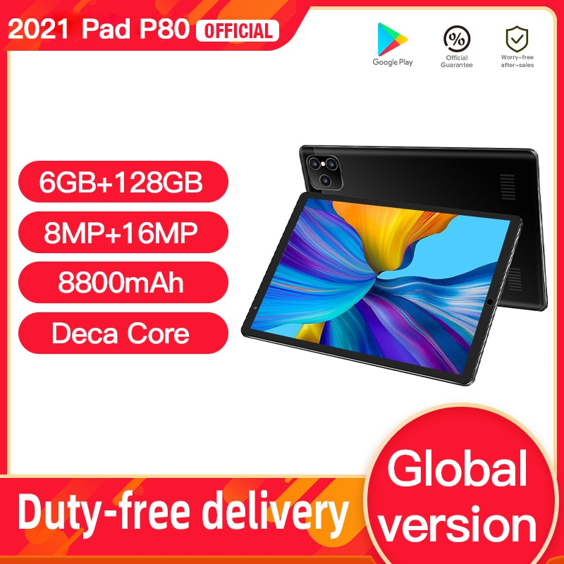 New P8 Tablet Android 8'' 1280x800 5G Network 6GB RAM 128GB ROM 10 Core Processor Tablet 10 Dual Wif