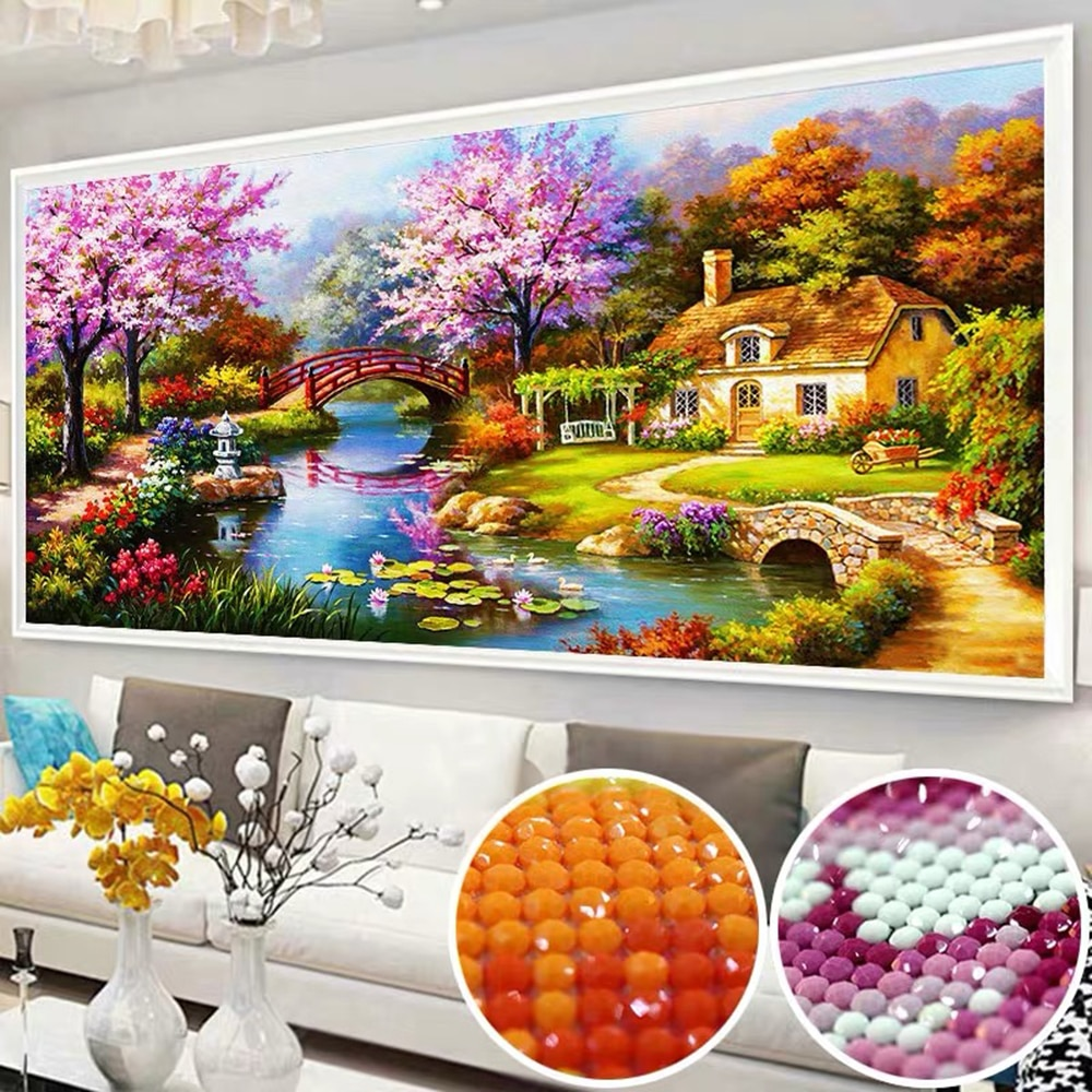 5D Diy Diamond Painting Dream Home Landscape Natural Scenery Diamond Embroidery Rhinestone Gift European Home Decor