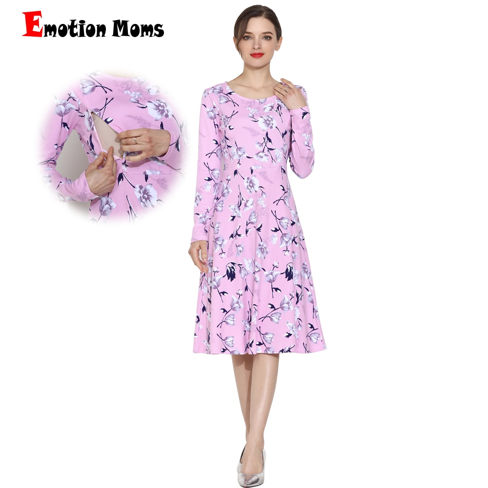 Emotion Moms Long Sleeve Maternity Clothes Dress Patchwork Breastfeeding Dress for Pregnant Women Maternity dresses enlarge